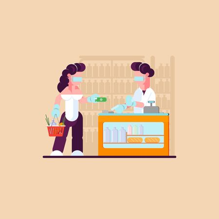 Cashless payments. Supermarket during quarantine. Store caters to a number of people. - Vector illustration