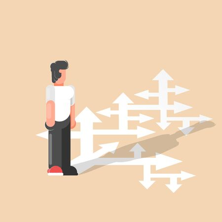 Choice. A businessman looks at many arrows and selects the path. Business vector illustration. - Vector illustration