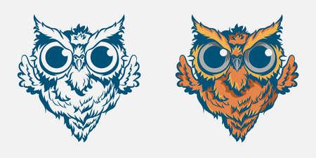 Vintage owl mascot colorful concept in vintage style isolated illustration. - Vector illustration Ilustracje wektorowe