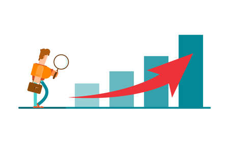 Upward trend movement. Movement towards success. Search for success. Businessman looks through a magnifying glass. Vektorové ilustrace