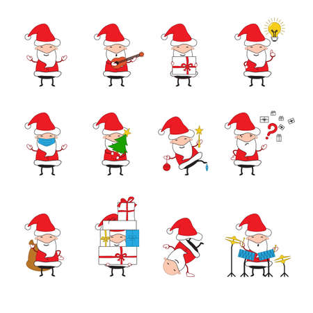 Set of Santa Claus which. They play musical instruments, hold a gift, an idea. - Vector illustration 向量圖像