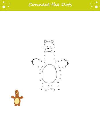 We draw a bear. Dot to dot. Draw a line. Game for toddler. Learning numbers for kids. Education developing worksheet. Isolated vector illustration.