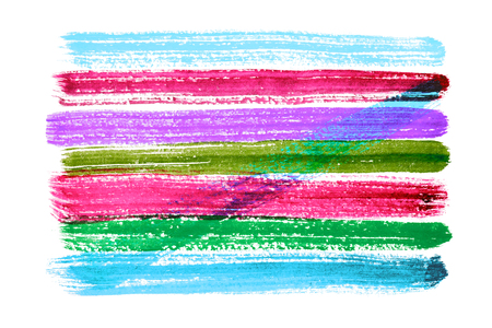 Multicolored watercolor horizontal brush strokes isolated on white background Фото со стока - 79235347