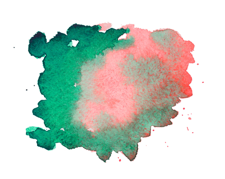 Pink and green watercolor stain on embossed paper isolated on white background. Abstract watercolor pattern