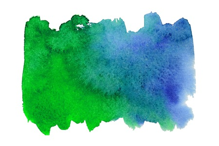 Blue and green watercolor blot on embossed paper isolated on white background. Abstract watercolor pattern Stock Photo