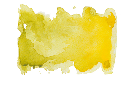 Yellow watercolor stain on embossed paper isolated on white background. Abstract watercolor pattern