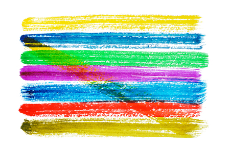 Multicolored watercolor horizontal brush strokes isolated on white background Фото со стока - 79235391