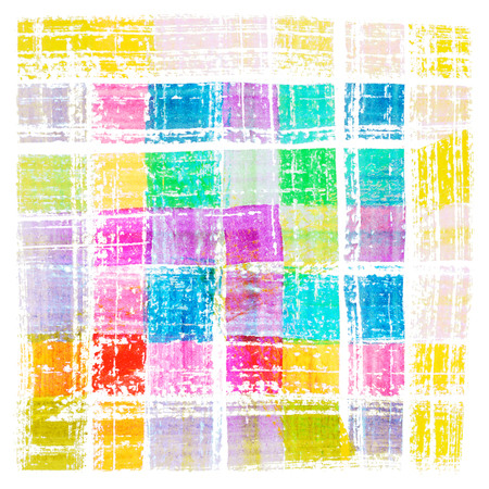 Multicolored watercolor cell brush strokes isolated on white background