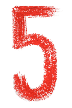 5 - Hand painted red isolated watercolor numbers