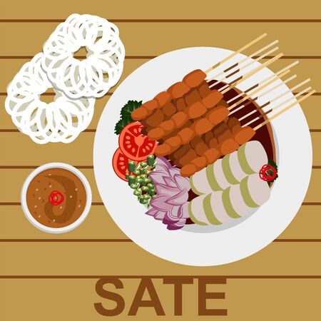 SATE IS AN INDONESIA TRADITIONAL FOOD Sate (spelling KBBI: satai) is food made from meat that is cut into small pieces and stabbed in such a way with a stick of coconut or bamboo leaf bone sticks then roasted using wood charcoal embers.