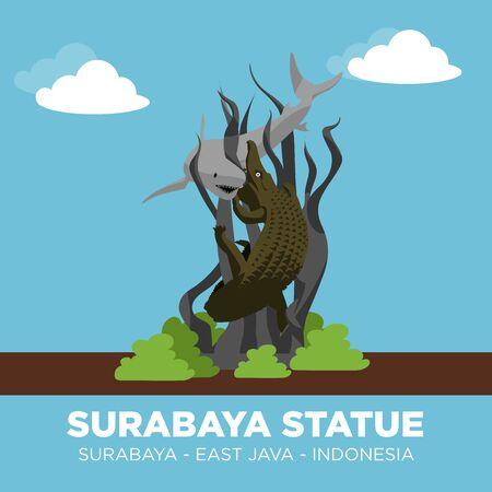 SURABAYA STATUE OF PATUNG SURO AND BOYO, IS A SYMBOL OF HEROES SITY SURABAYA.