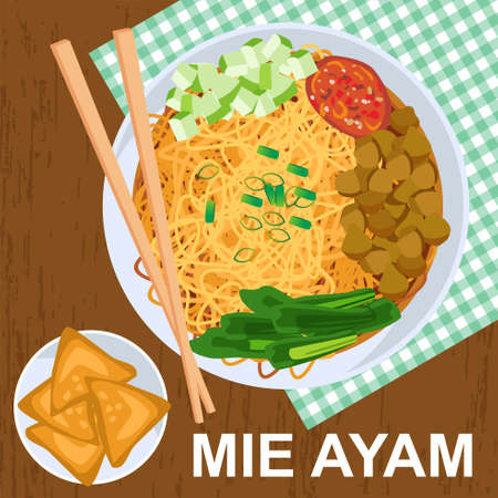 Mie Ayam or chicken noodles are Indonesian dishes made from boiled yellow noodles boiled and then sprinkled with special soy sauce with chicken and vegetables