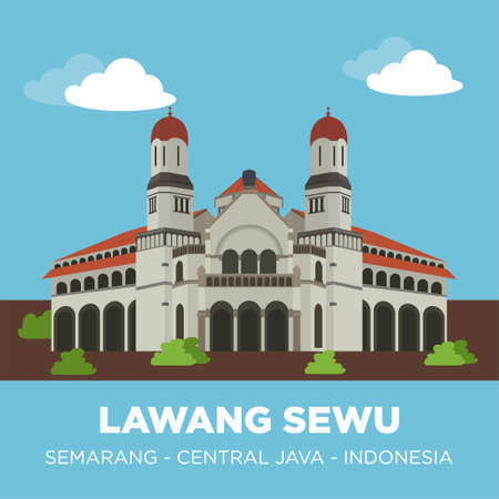 LAWANG SEWU is a landmark in Semarang, Central Java, Indonesia, built as the headquarters of the Dutch East Indies Railway Company. The colonial era building is famous as a haunted house. Vectores