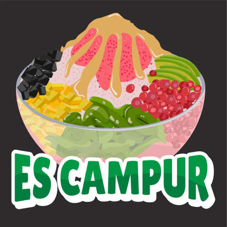 es campur is one of the typical Indonesian drinks that is made by mixing various types of ingredients in sweet syrup. 일러스트