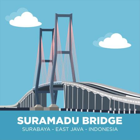 SURAMADU NATIONAL BRIDGE (JEMBATAN SURAMADU) is a bridge that crosses the Madura Strait, connecting Java Island (in Surabaya) and Madura Island (in Bangkalan, precisely east of Kamal), Indonesia. Vettoriali