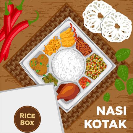 Nasi Kotak, Rice Box, Catering Box, Catering Food, Catering Menu.consists From Sheep Flour Shrimp, Tempe Sweets, Maize Bakwan, Sambal, Fried Chicken, Long Bean Tumis, Perkedel, Egg Fried And Rice.
