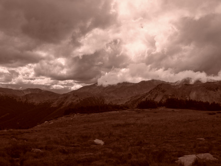 colorado rocky mountains: Gloomy clouds over Jones Pass in the Colorado Rocky Mountains  Stock Photo