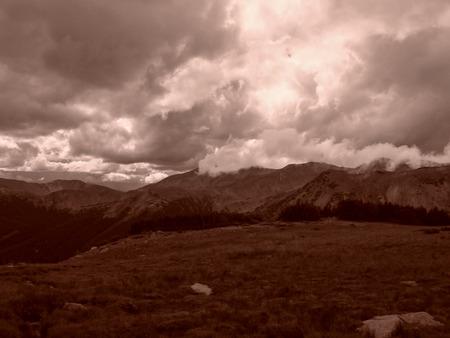 jones: Gloomy clouds over Jones Pass in the Colorado Rocky Mountains  Stock Photo