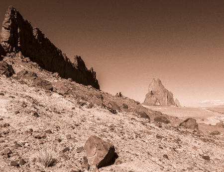A volcanic dike near Shiprock in northwest New Mexico.