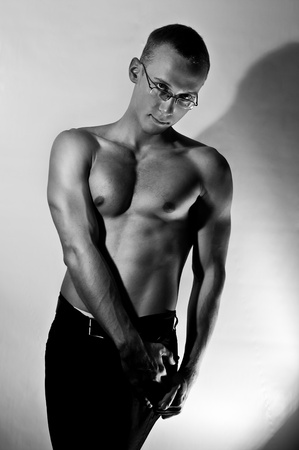muscular man with relief muscles. Black and white Stock Photo