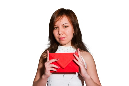 Pretty young business woman smiles and holds blank envelope isolated on white photo
