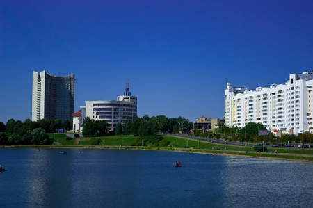 Landscape of the down town of Minsk. Sunny day Stock Photo