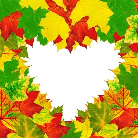 otoño brillante de forma de corazón deja marco sobre fondo blanco