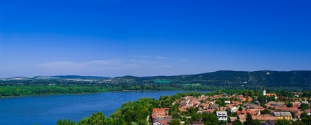 visegrad: The Danube curve  - view from hilltop at Esztergom, Hungary