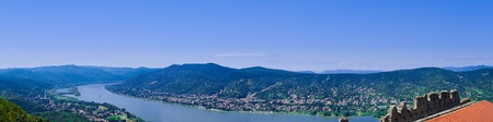 The Danube curve - panoramic view from hilltop at Visegrad, Hungary Stock Photo - 10587309
