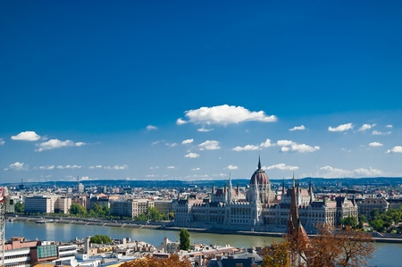Budapest panorama with Danube river. Daylight. Summer photo