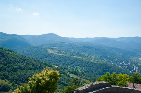 The Danube curve - panoramic view from hilltop at Visegrad, Hungary Stock Photo - 11109652
