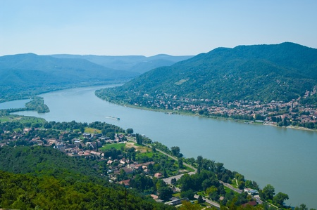 The Danube curve - panoramic view from hilltop at Visegrad, Hungary Stock Photo