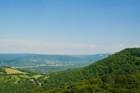 The Danube curve - panoramic view from hilltop at Visegrad, Hungary Stock Photo - 11109645