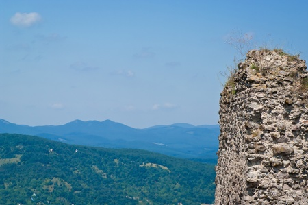 Ancient stone wall and landscape on background in Visegrad, Hungary Stock Photo - 11109643