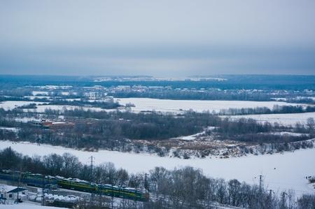 Vista superior de la estación de ferrocarril de Vladimir en invierno
