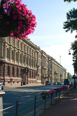 Old Street en el centro de San Petersburgo, Rusia