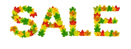 Autumn maple Leaves in the shape of word  photo