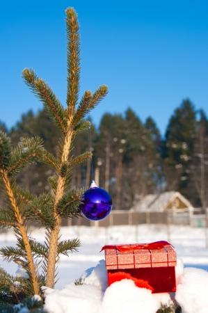 Bolas de la Navidad en un abeto de nieve al aire libre Foto de archivo