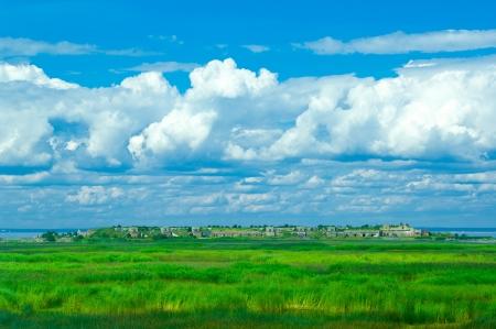 Hermosa isla deshabitada en el mar B�ltico Foto de archivo