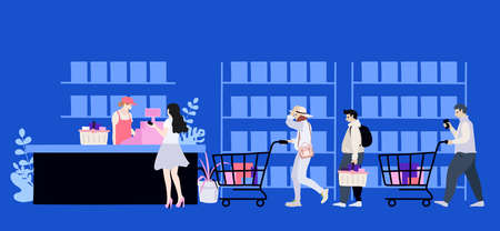 Collection of people carrying shopping purchases in shop.
