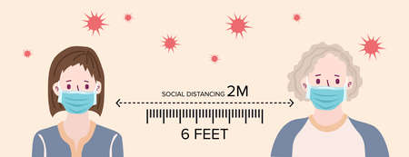 Social distancing, keep distance with people in public places to stop spreading COVID-19 coronavirus concept. Flat vector illustration. 矢量图像