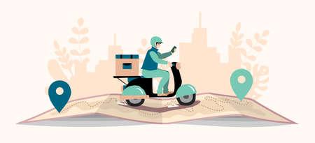 Delivery website banner in flat illustration vector style Vector Illustratie
