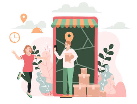 Delivery website banner in flat illustration vector style Ilustración de vector
