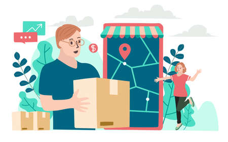Delivery website banner in flat illustration vector style