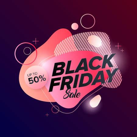 Black Friday Sale Web Banner Design Template. Advertising poster. Modern Vector illustration.