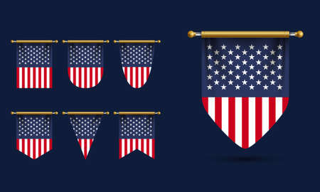 America Pennant Template Vector. Realistic Illustration Vettoriali
