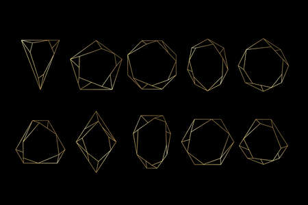 Gold collection of geometrical polyhedron, art deco style