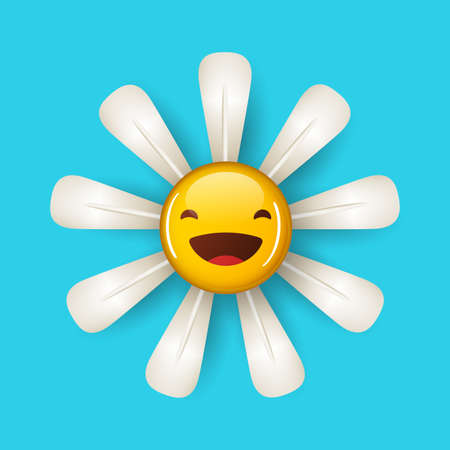 Illustration of daisy flower with a smile face