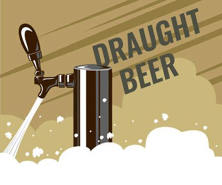 Draught Draft Beer Tap With Foam Web Banner Design. Vector illustration.