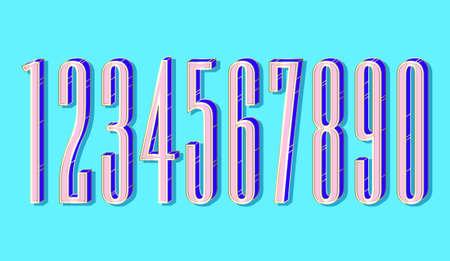 (Element) set of ten numbers form zero to nine, number flat design